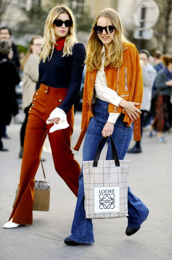 orange pants navy blue