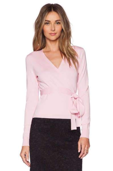 pale pink belted ballet wrap sweater black lace skirt