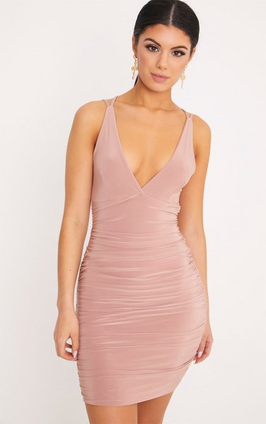 pale pink deep v neck ruched bodycon dress