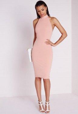 pale pink halter neck bodycon dress white heels