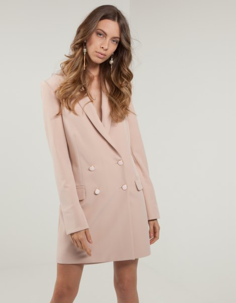 pale pink loose fit blazer jacket dress