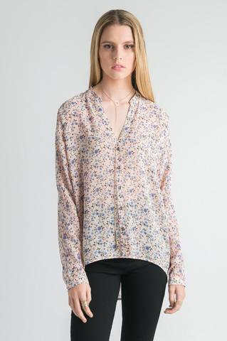 pale yellow and blue floral chiffon shirt