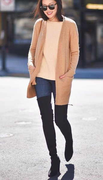 pale yellow knit sweater thigh high boots
