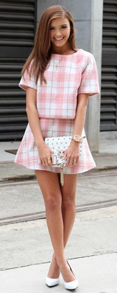 pink and white plaid two piece set
