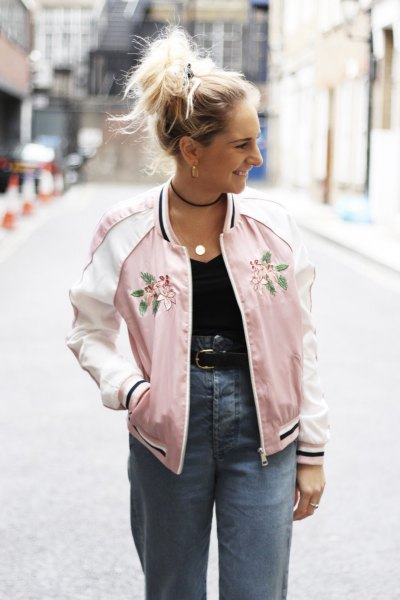 pink embroidered bomber jacket high waisted jeans