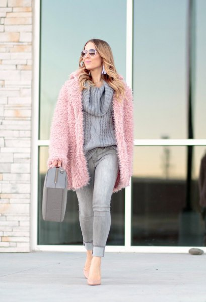 pink faux fur jacket grey cowl neck knit sweater