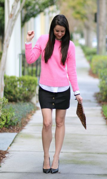 pink knit sweater black leather mini skirt