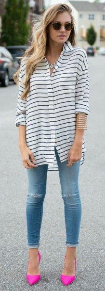 pink pointed toe pumps black and white striped shirt