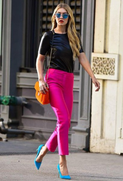 pink pointed toe pumps skinny pants black top