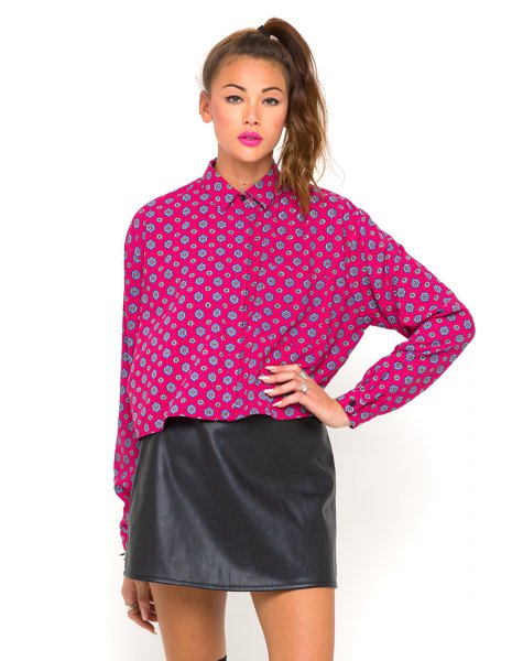 pink printed batwing shirt black leather mini skirt