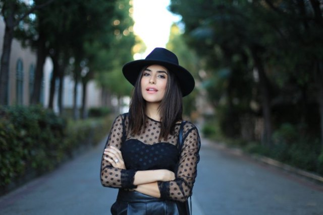 polka dot mesh top black felt hat