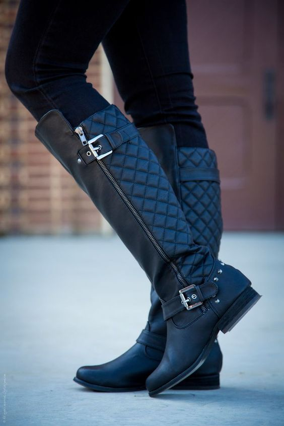 quilted boots biker vibe