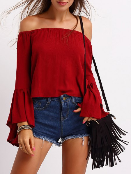 red off shoulder top denim shorts