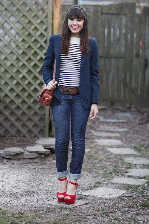 red platform heels skinny jeans