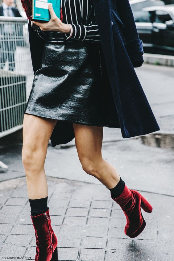 red platform heels street style velvet
