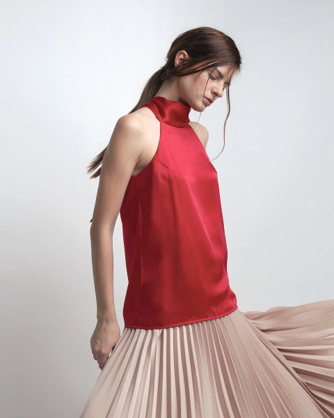 red silk top pale pink pleated dress