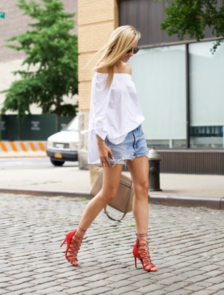 red strappy heels white off shoulder blouse denim shorts