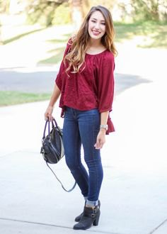 red three quarter sleeve blouse cuffed jeans
