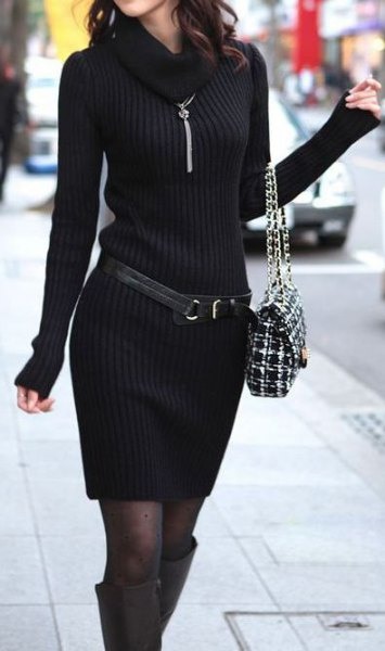 ribbed belted sweater dress boots
