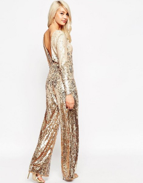 rose gold low back wide leg sparkly jumpsuit