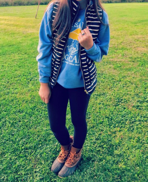 sky blue sweatshirt black and white striped vest