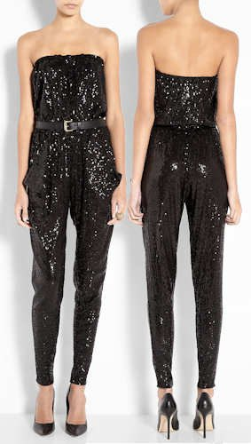 strapless tapered leg black sparkly jumpsuit