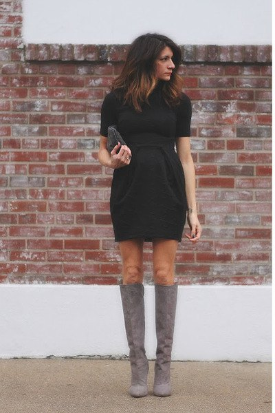suede knee high boots black gathered waist mini dress