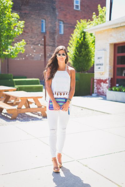 tassel halter top white skinny jeans
