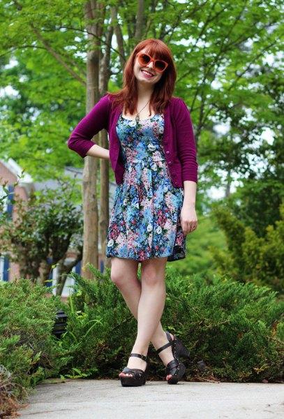 three quarter sleeve purple cardigan floral mini dress