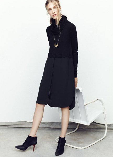 turtleneck shirt dress heeled ankle boots