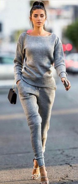 two piece set with grey sweater matching sweatpants