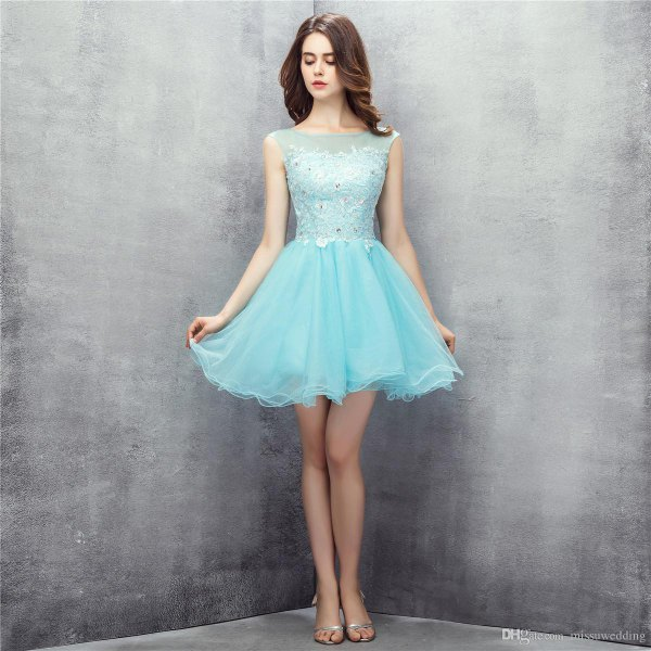 two toned light blue tulle dress