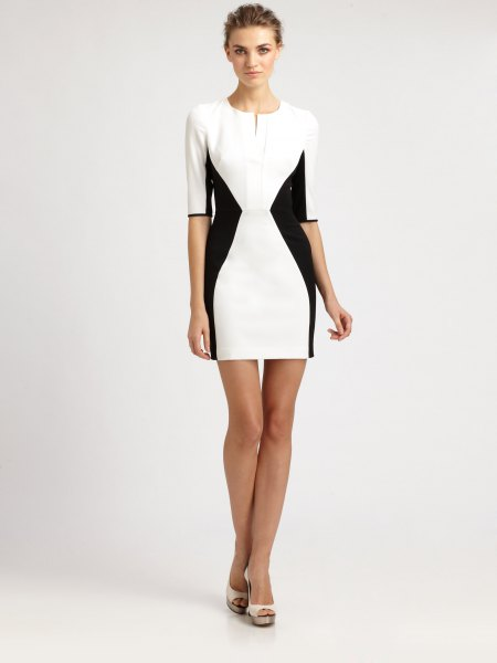 white and black half sleeve bodycon mini dress
