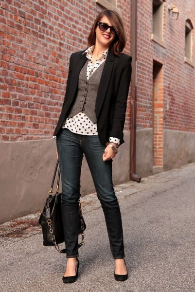 white and black polka dot shirt grey vest