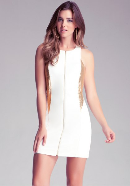 white and gold zip front bodycon dress