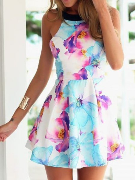white and sky blue floral skater dress
