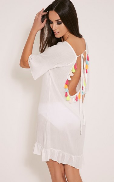 white backless chiffon tassel dress