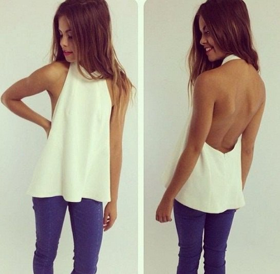 white backless halter top royal blue skinny jeans