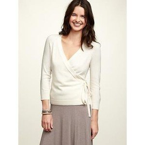 white ballet wrap sweater grey a line skirt