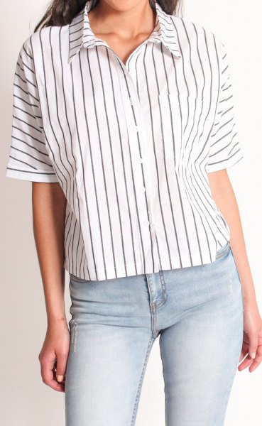 white batwing button up shirt narrow grey stripes