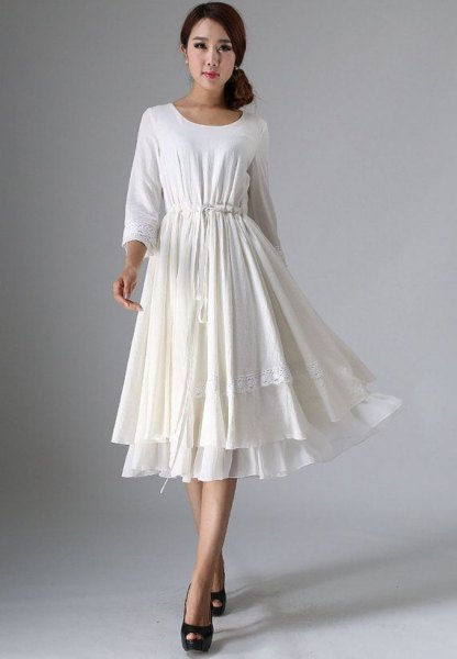 white belted multiple layer flare linen dress