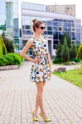white belted skater dress yellow heels