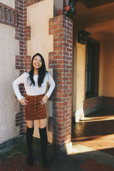 white boat neck knit sweater boots