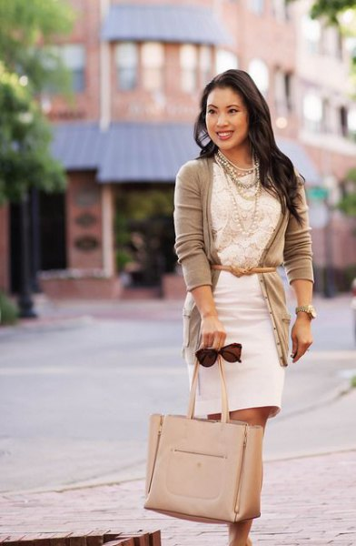 white bodycon dress belted cardigan