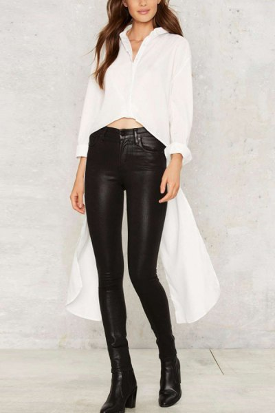 white button up high low shirt black leather leggings