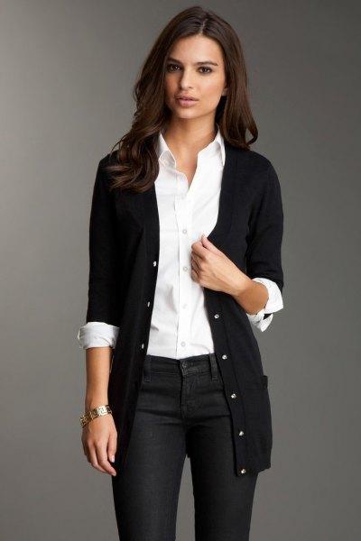 white button up shirt black cardigan