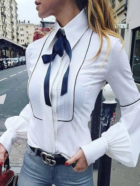 white button up shirt navy ribbon bow