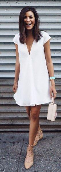 white cap sleeve deep v neck swing dress