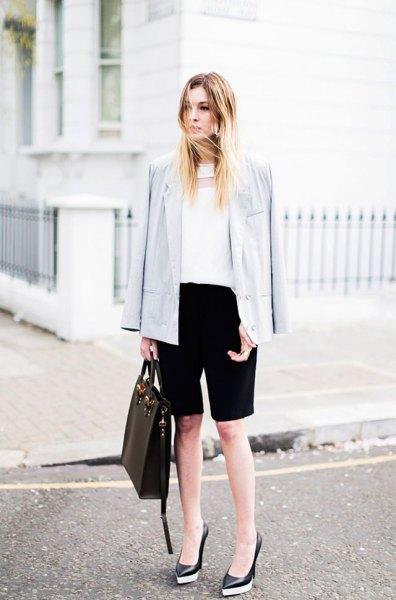 white chiffon blouse light grey blazer