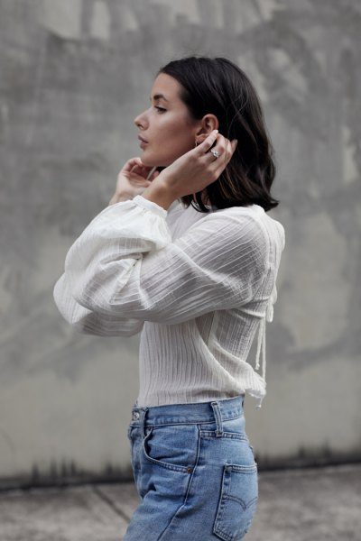 white chiffon blouse mom jeans